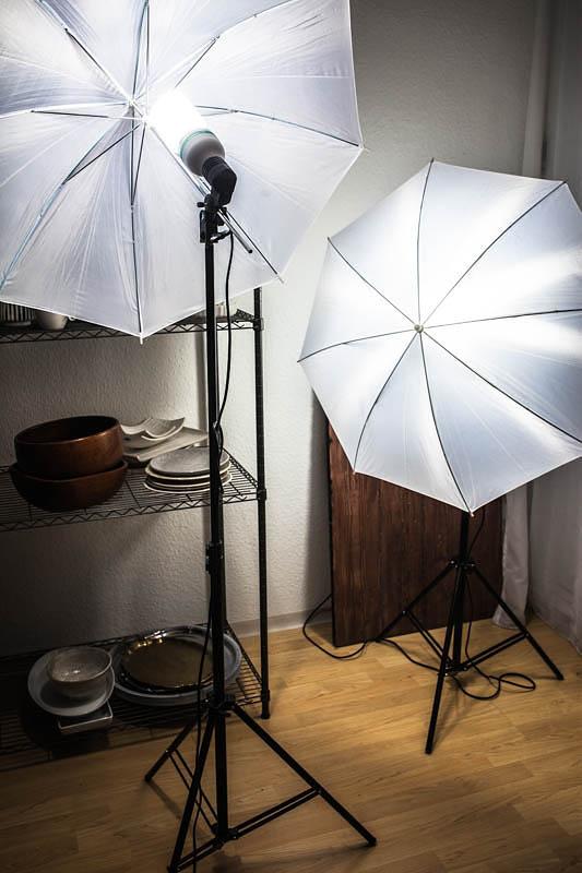 Zwei Reflexschirme mit Tageslichtlampen. Das perfekte Starter-Kit für das Fotografieren mit Dauerlicht