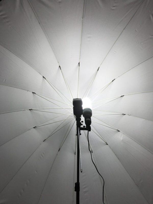 Ein Formatfüllender Reflex-Schirm mit einem davor montierten Systemblitz und einer Tageslichtlampe