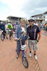 Dated: 11/06/17 Saddle Up... The Big Bike Ride takes place today (Sun) in Sunderland. The Mayor of Sunderland, Councillor Doris MacKnight, started the 300 cyclists from the Sir Tom Cowie campus on St Peter's Riverside. The Mayor is pictured trying out an old Raleigh Chopper bike belonging to Nigel Bradley (also pictured) #NorthNewsAndPictures/2daymedia