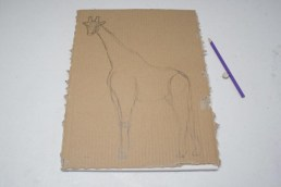 After looking at photos of giraffes online for a while I finally found a few that I liked and wanted to use. I was a bit worried that the proportions might be tricky to get right when doing the freehand drawing of the shape of the giraffe but actually I was pleasantly surprised to find that it wasn't as difficult to do as I thought it was going to be.