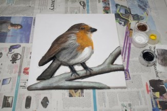"""""""Robin"""" 3D Acrylic Painting - The Painting Stage continued. The eye and other details are added so it comes alive and looks even more like a robin, I was pleased with how it was progressing at this stage."""