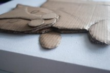 Close up of the layers of cardboard