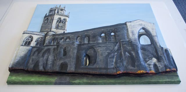 """All Saints Church"" 3D Acrylic Painting by Purple Faye"