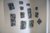 """Monarch Tree"" 3D Acrylic Paintings by Purple Faye up in the corridor outside my studio"