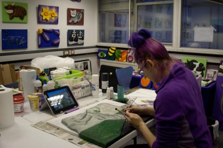 "Me, Purple Faye, painting the ""Pontefract Castle"" 3D Acrylic Painting in my studio in Pontefract"
