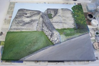 "Last details and highlights painted on the ""Pontefract Castle"" 3D Acrylic Painting by Purple Faye"