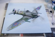 "Last few details painted on the ""Spitfire MK VB"" 3D Acrylic Painting (after a few attemtps to get them looking right)"