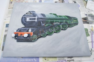 "Last details painted on More details painted on ""The Flying Scotman No. 4472"" 3D Acrylic Painting."
