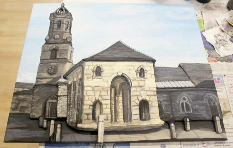 "The Pontefract ""Buttercross and St Giles Church"" 3D Acrylic Painting"
