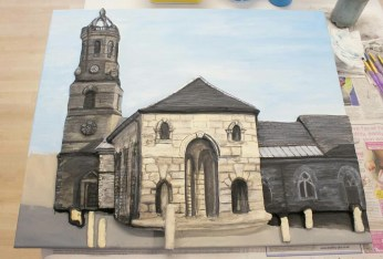 "Final details painted on the the Pontefract ""Buttercross and St Giles Church"" 3D Acrylic Painting."