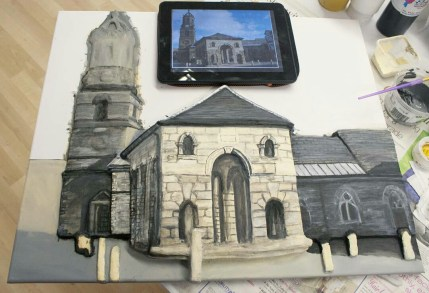 "Continuing to paint details on the tower of the St Giles Church part of the Pontefract ""Buttercross and St Giles Church"" 3D Acrylic Painting."