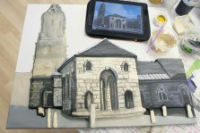 "Starting to paint the brickwork details on the tower of the St Giles church part of the Pontefract ""Buttercross and St Giles Church"" 3D Acrylic Painting."