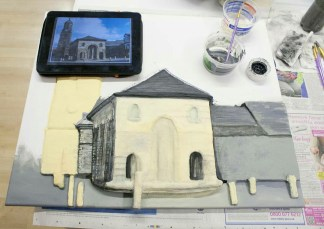 "Continuing to paint the Pontefract ""Buttercross and St Giles Church"" 3D Acrylic Painting."