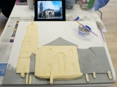 "After the modroc had dried I could then start painting the Pontefract ""Buttercross and St Giles Church"" 3D Acrylic Painting."