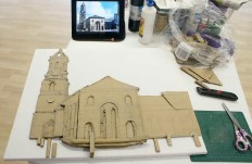 "Next I cut out the drawing, on cardboard, of the ""Buttercross and St Giles Church"" 3D Acrylic Painting and used more cardboard to make the 3D layers."