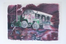 Complimentary colour version of the oil pastel drawing of a tractor, also an oil pastel drawing