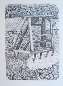 Pointillism style drawing, using dots to make up the image, in black marker pen of farm machinery near to my parent's house.