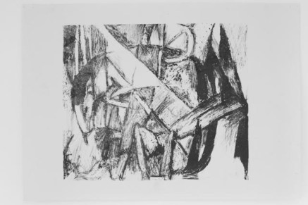 Black/white screen print version of Fabulous Beast II, Horse painting by Franz Marc