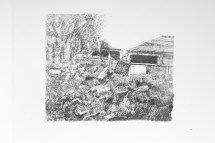 Black/white screen print version of pig farm drawing