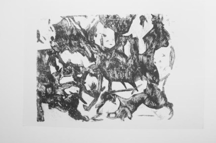 Black/white screen print version of the enlarged painting