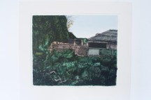 Mounted colour screen print version of pig farm drawing
