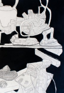 Negative space drawing of still life objects on a shelf, part 2