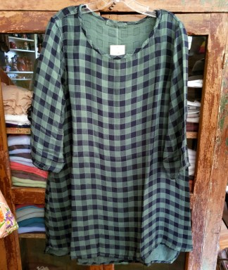3/4 sleeve long top check double cloth in swisschard