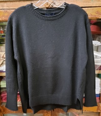 Baci Black Rolled Boat Hi-Lo Sweater 0517