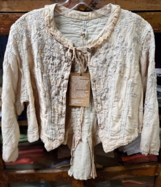 Magnolia Pearl Conch Cotton Silk Floral Embroidered Inna Jacket 341