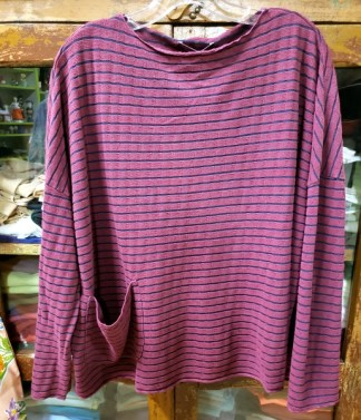 cut loose One Size Pocket Pullover Cranapple Striped Top 2355