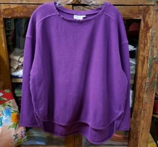 Prairie Cotton Loose Long Sleeve Drop Shoulder Top in Prince 0104