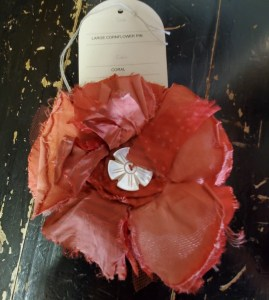 Krista Larson Large Coral Mix Cornflower Pin 0026