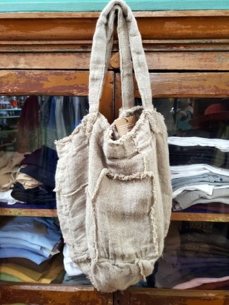 Magnolia Pearl Double Lined Raw Linen Bucket Bag 009