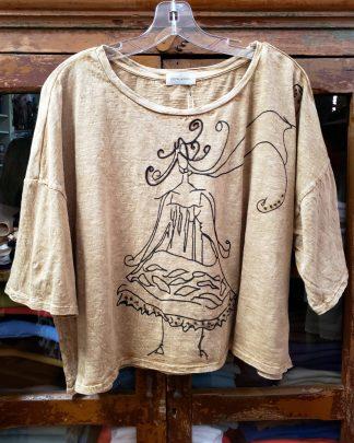 Krista Larson Parchment Logo Print T-Shirt