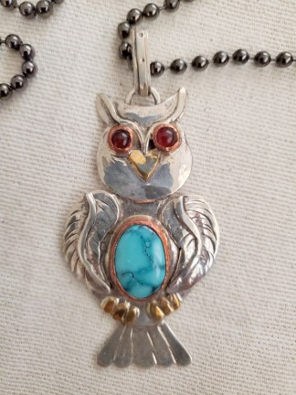 Cindy Bolin Sterling Silver Owl Pendant with Copper Bezel