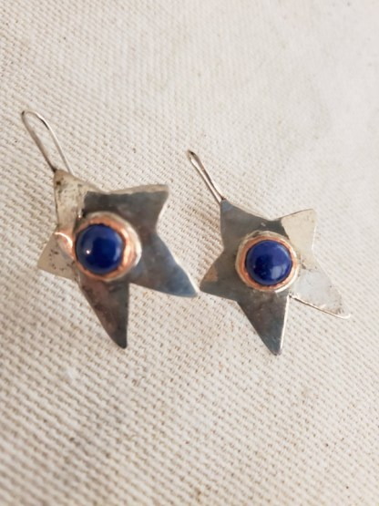 Cindy Bolin Sterling Silver Star Earrings with Copper Bezel and Blue Stone