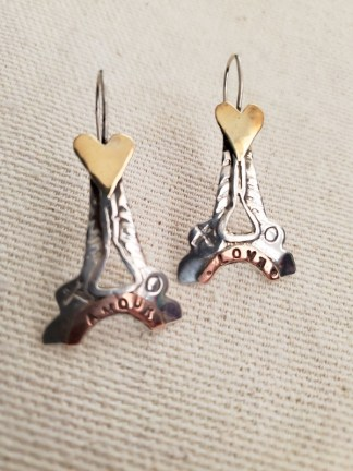 "Cindy Bolin Silver/Copper/ Brass ""Amor"" Earring"