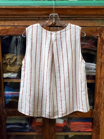 Metta Melbourne Kyoko Singlet Linen Stripe in Ginger 0943