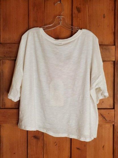 Krista Larson Peony T Shirt Crop Short Sleeve 0033 in White