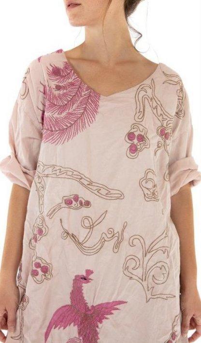 Magnolia Pearl Cotton Satin Dragon Embroidered Parnassus Tunic Top 966 - Lilac