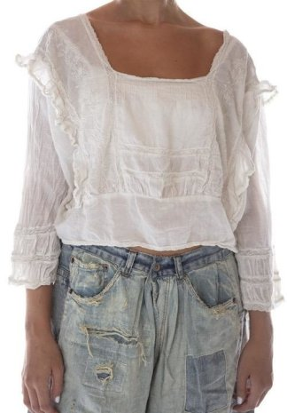 Magnolia Pearl Lucia Lace Embroidered Blouse Top 677 Moonlight