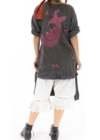 Magnolia Pearl Cotton Satin Dragon Embroidered Parnassus Tunic Top 966 - Ozzy