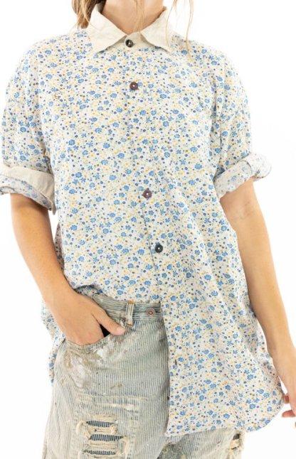 Magnolia Pearl Cotton Printed Boyfriend Shirt Top 1040 -- Bluebella