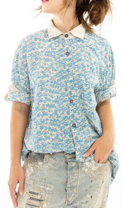 Magnolia Pearl Cotton Printed Boyfriend Shirt Top 1040 -- Texas