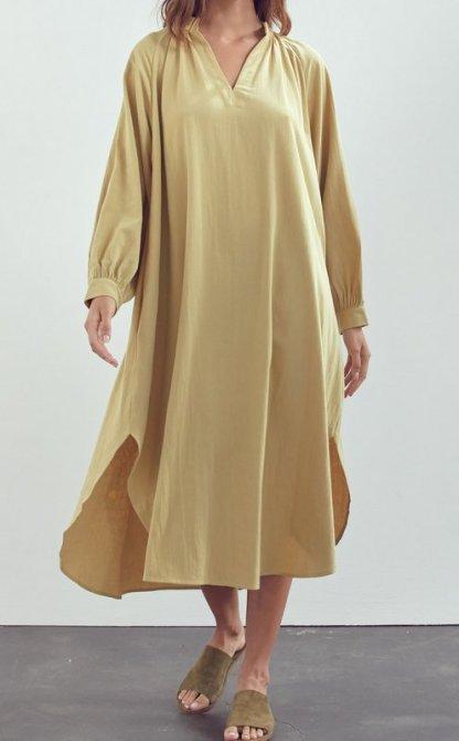 Amente -- Stand Collar Day Maxi Dress 7497 Moss