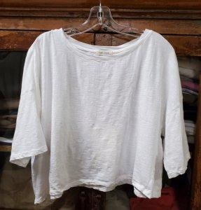 Krista Larson Crop Solid T-Shirt Short Sleeve 5915 White