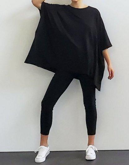 Amente -- Loose Fit Garment Dye T-Shirt 5337 Black