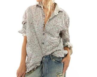 Magnolia Pearl Cotton Printed Boyfriend Shirt Top 1040 -- Georgia
