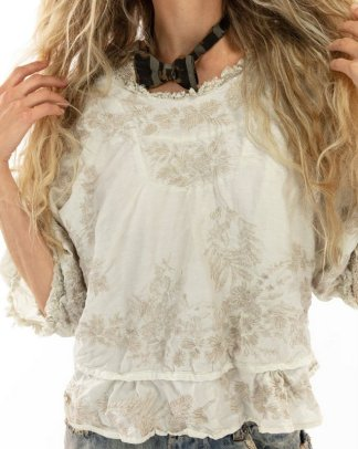 Magnolia Pearl Embroidered Swama Blouse 1089 moonlight