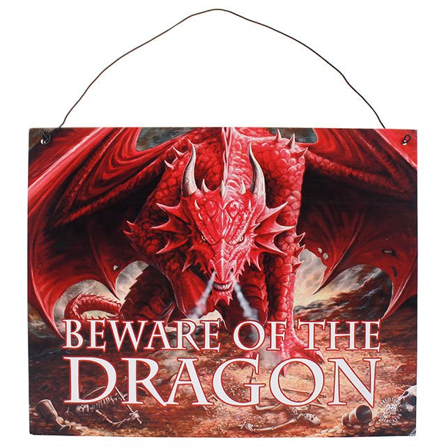 """Beware of the Dragon"" Metal Sign"